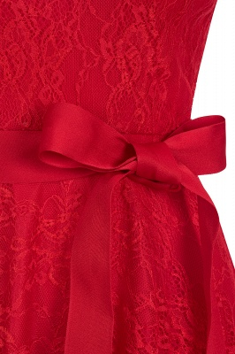 V-neck Short Sleeves Lace Dresses with Bow Sash_5
