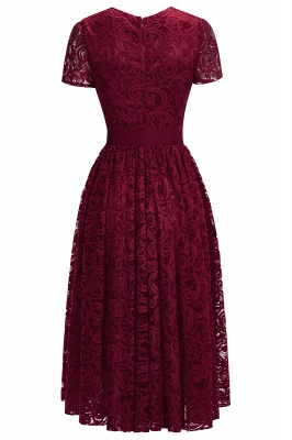 Short Sleeves Seath Red Lace Dresses with Ribbon Bow_5
