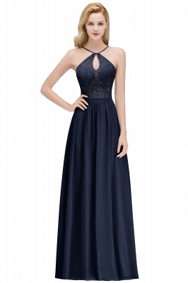 MADELEINE | A-line Keyhole Neckline Lace Top Long Spaghetti Bridesmaid Dresses_3