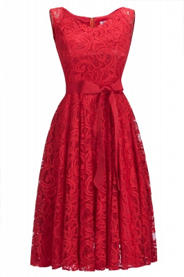 Simple Sleeveless A-line Red Lace Dresses with Ribbon Bow_1