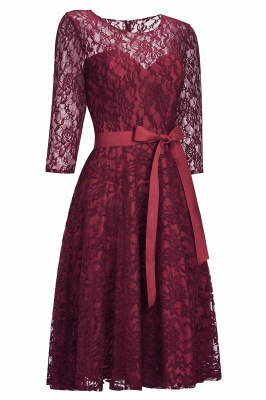 Vintage A-line Burgundy Lace Dresses with Sleeves_2