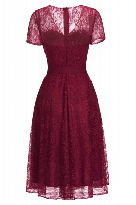 V-neck Short Sleeves Lace Dresses with Bow Sash_9