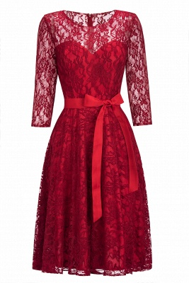 Vintage A-line Burgundy Lace Dresses with Sleeves_10