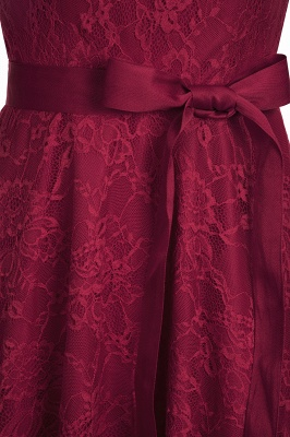 A-line Sleeveless Burgundy Lace Dresses with Bow_13
