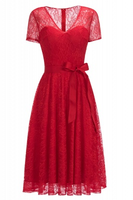 V-neck Short Sleeves Lace Dresses with Bow Sash_1