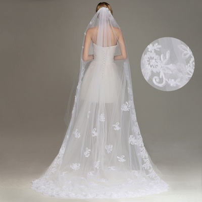 One Layer Wedding Veil with Comb Lace Edge Appliqued Bridal Veil?_7