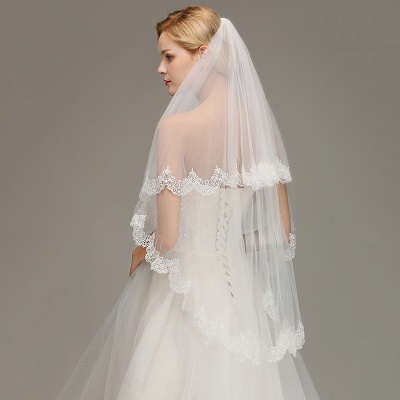 Elegant Two Layers Lace Edge Long White Wedding Veil_5