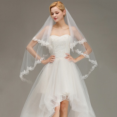 Soft Tulle Bridal Veil Two Layers Lace Edge Wedding Veil with Comb_4