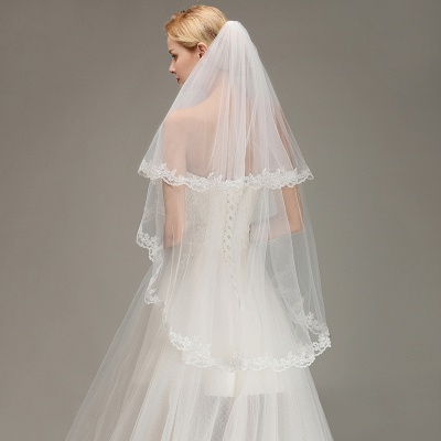 Soft Tulle Bridal Veil Two Layers Lace Edge Wedding Veil with Comb_6