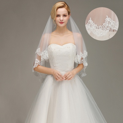 Elegant Two Layers Lace Edge Long White Wedding Veil_3