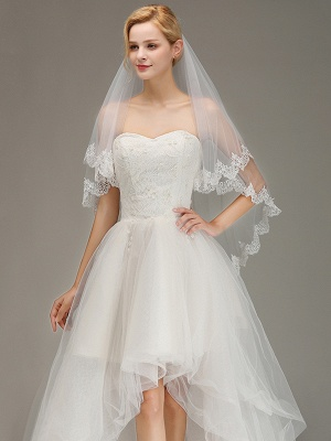 Elegant Two Layers Lace Edge Long White Wedding Veil_1