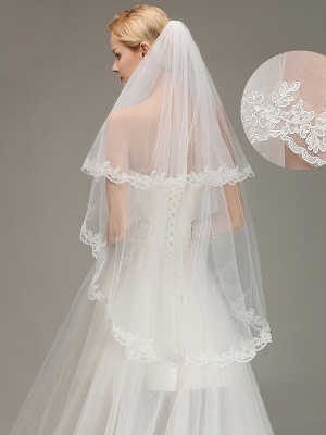 Soft Tulle Bridal Veil Two Layers Lace Edge Wedding Veil with Comb_2