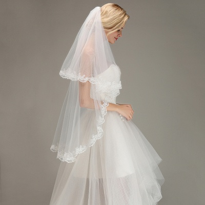 Soft Tulle Bridal Veil Two Layers Lace Edge Wedding Veil with Comb_5