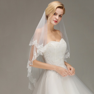 Elegant Two Layers Lace Edge Long White Wedding Veil_4
