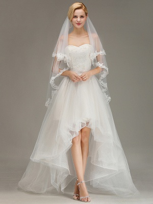 Soft Tulle Bridal Veil Two Layers Lace Edge Wedding Veil with Comb_1