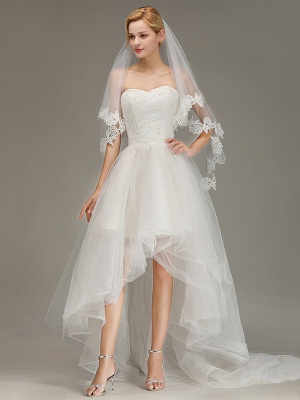 Lace Applique Two Layers Wedding Veils With Comb_1