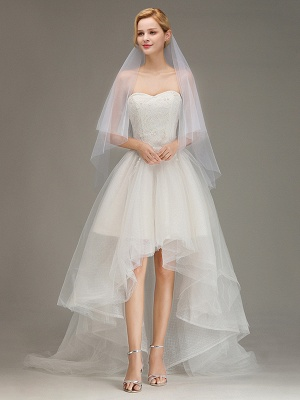 Cut Edge Two Layer Wedding Veil with Comb Simple Soft Tulle Bridal Veil_1