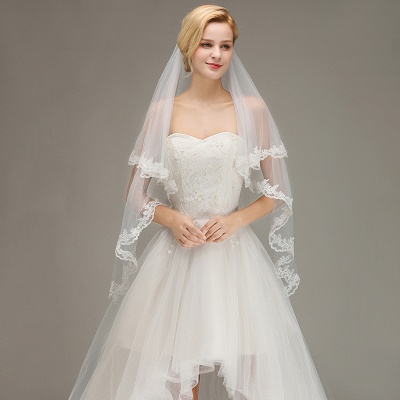 Soft Tulle Bridal Veil Two Layers Lace Edge Wedding Veil with Comb_3