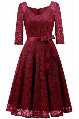Multi-color A-line Holiday Guipure lace Round Neck Midi Lace Dresses_3