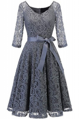 Multi-color A-line Holiday Guipure lace Round Neck Midi Lace Dresses_16