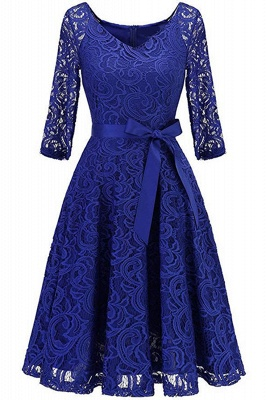 Multi-color A-line Holiday Guipure lace Round Neck Midi Lace Dresses_5