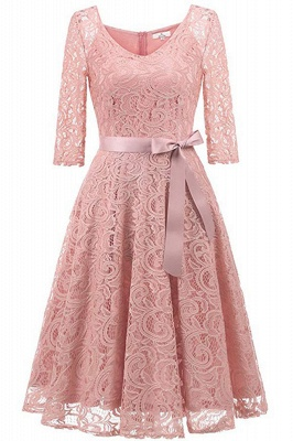 Multi-color A-line Holiday Guipure lace Round Neck Midi Lace Dresses_10