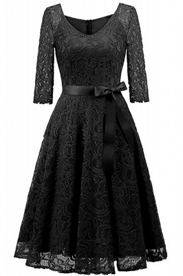 Multi-color A-line Holiday Guipure lace Round Neck Midi Lace Dresses_7