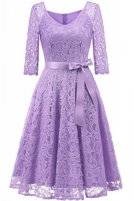 Multi-color A-line Holiday Guipure lace Round Neck Midi Lace Dresses_14