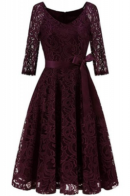 Multi-color A-line Holiday Guipure lace Round Neck Midi Lace Dresses_18