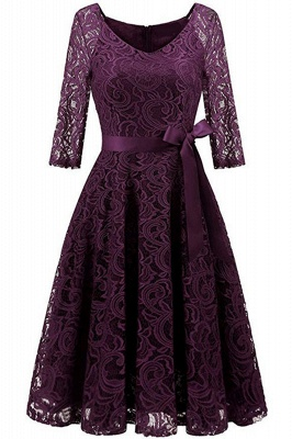 Multi-color A-line Holiday Guipure lace Round Neck Midi Lace Dresses_4
