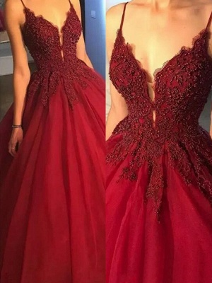 Gorgeous Spaghetti Strap Beads Lace Red Prom Dresses_2