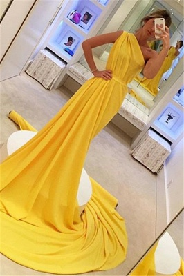 Gorgeous A-Line One-Shoulder Sleeveless Long Yellow Prom Dress_1