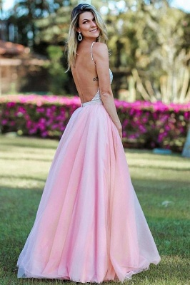 Spaghetti-Straps Appliques Backless A-Line Pink Prom Dresses_2
