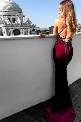 Sexy Mermaid Lace Up Halter Applique Sleeveless Prom Dresses_2