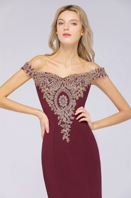 Simple Off-the-shoulder Burgundy Formal Dress with Lace Appliques_36