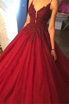 Gorgeous Spaghetti Strap Beads Lace Red Prom Dresses_3