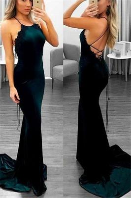 Sexy Mermaid Lace Up Halter Applique Sleeveless Prom Dresses_1