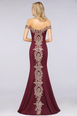 Simple Off-the-shoulder Burgundy Formal Dress with Lace Appliques_38