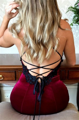 Sexy Mermaid Lace Up Halter Applique Sleeveless Prom Dresses_3