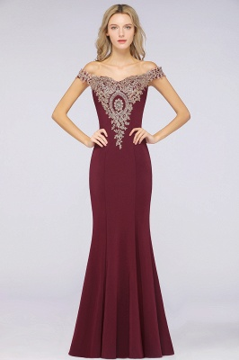 Simple Off-the-shoulder Burgundy Formal Dress with Lace Appliques_29