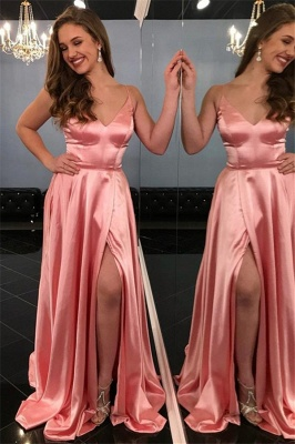 Spaghetti-Straps Sleeveless Side-Slit A-Line Pink Prom Dresses_1