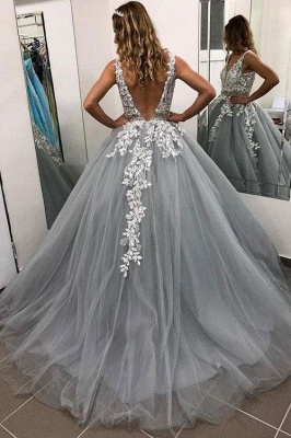 Elegant Appliques Simple Ball Gown Crystal Evening Dresses_2