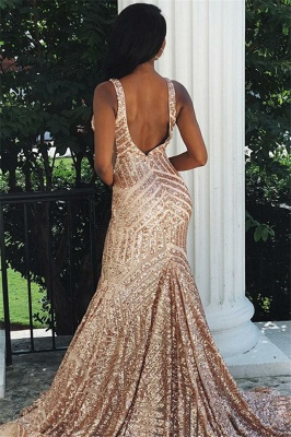 Mermaid Sexy Straps Sleeveless V-Neck Sequins Prom Dresses_2
