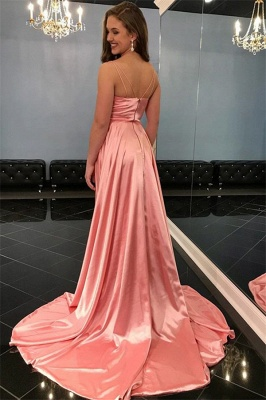 Spaghetti-Straps Sleeveless Side-Slit A-Line Pink Prom Dresses_2