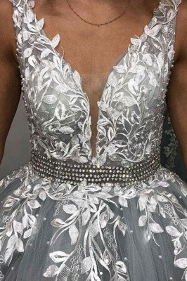 Elegant Appliques Simple Ball Gown Crystal Evening Dresses_3