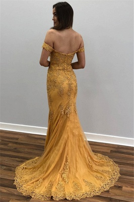 Mermaid Off-The-Shoulder Appliques Tulle Yellow Prom Dresses_2