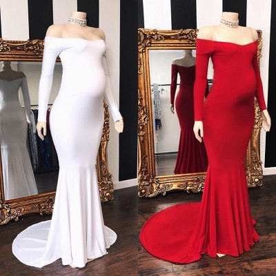 Off-The-Shoulder Pregnant Mermaid Long-Sleeves Prom Dresses_3