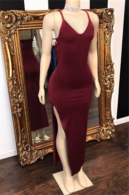 Spaghetti-Straps Side-Slit Burgundy Prom Dresses V-Neck_1