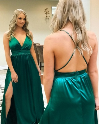 Sexy Spaghetti-Straps A-Line Backless Prom Dresses_2