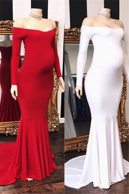 Off-The-Shoulder Pregnant Mermaid Long-Sleeves Prom Dresses_1